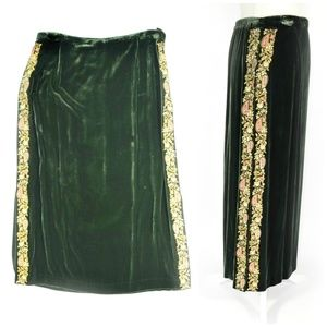 DVF SILK ASSETS Velvet Embroidered Maxi Skirt
